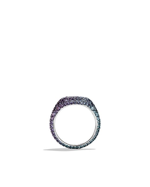 David Yurman | Purple Petite Pavé Pinky Ring With Color Change Garnets In 18k White Gold | Lyst
