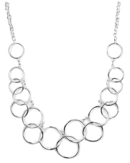 Nine West | Metallic Silver-tone Circle Frontal Necklace | Lyst