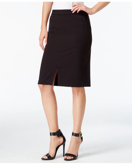 Kensie | Black Front-slit Pencil Skirt | Lyst
