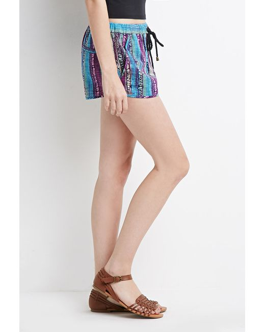Forever 21 | Blue Abstract Print Shorts | Lyst