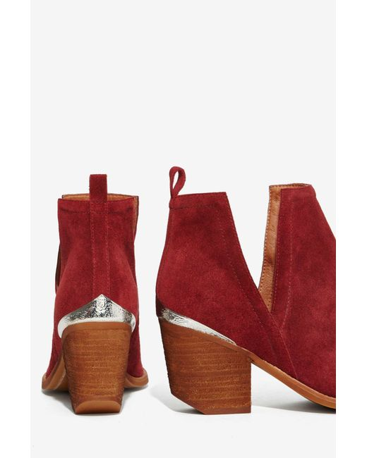 Jeffrey Campbell Cromwell Suede Bootie Wine In Red Lyst