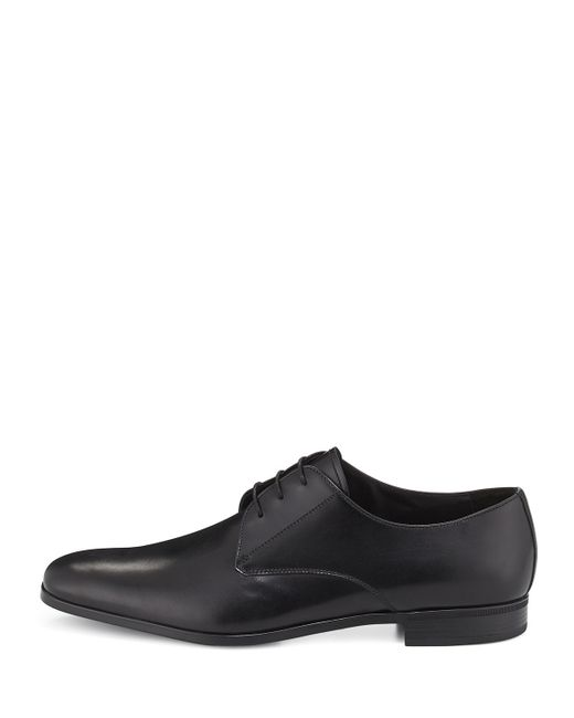 Prada Leather Lace-Up Oxford Shoes In Black | Lyst