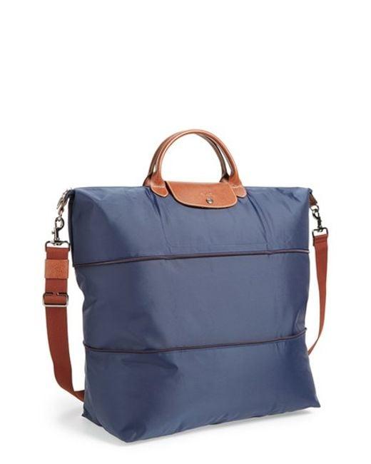Longchamp   Blue 'le Pliage' Expandable Travel Bag   Lyst