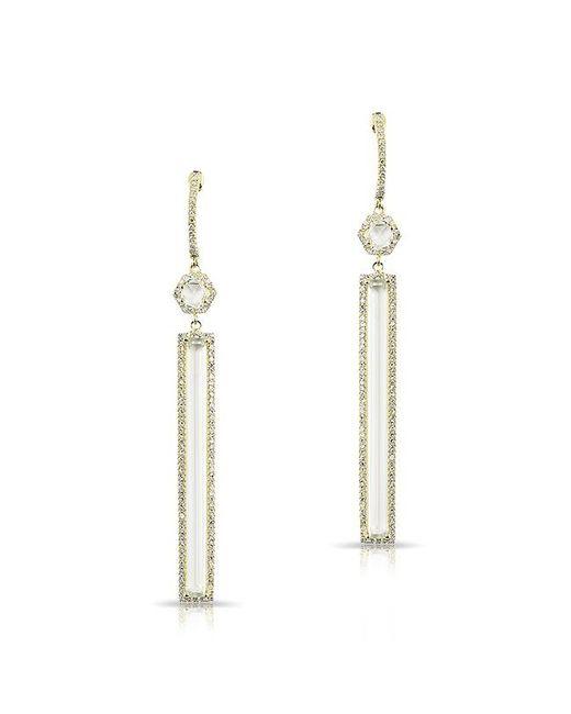 Anne Sisteron | Metallic 14kt Yellow Gold White Topaz Diamond Bar Drop Earrings | Lyst