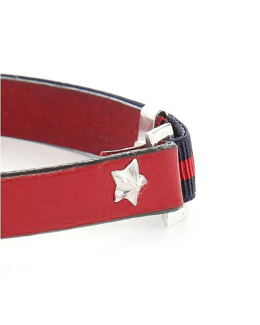 Gilbert Gilbert   Hen 13 Red Leather Adjustable Bracelet And Stretch Band for Men   Lyst