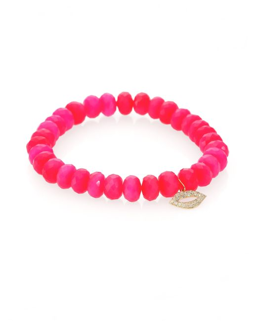 Sydney Evan | Diamond, Hot Pink Chalcedony & 14k Yellow Gold Lips Beaded Stretch Bracelet | Lyst
