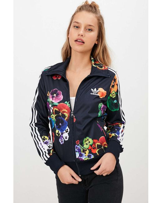 Adidas Originals Firebird Crepe Tracksuit Jacket In Floral