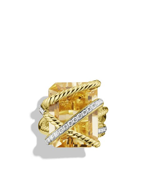 David Yurman | Metallic Cable Wrap Ring With Champagne Citrine And Diamonds In 18k Gold | Lyst