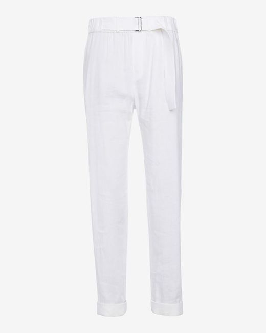 VINCE | Belted Linen Pant: White | Lyst