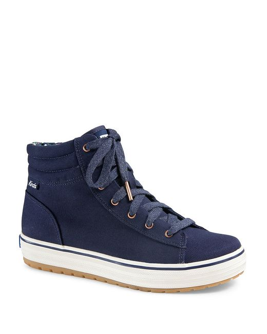 Keds Hi Rise Canvas High Top Sneakers In Blue Navy Blue
