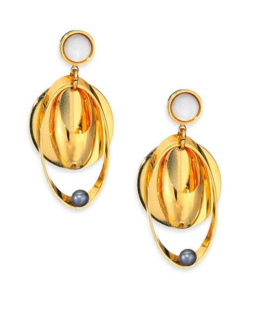 Lizzie Fortunato | Metallic Tortola 6mm Peacock Pearl & Mother-of-pearl Cabochon Voyage Drop Earrings | Lyst