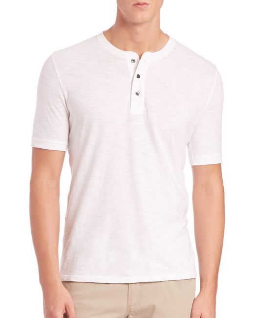 VINCE | White Short-sleeve Cotton Henley for Men | Lyst