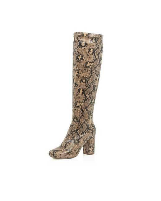 river island brown snake print knee high boots in brown lyst