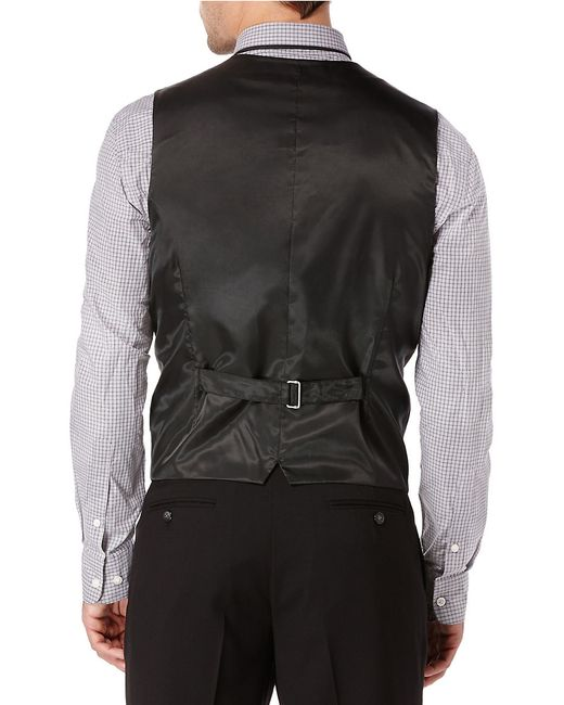 Perry Ellis Big And Tall Solid Suit Vest In Black For Men