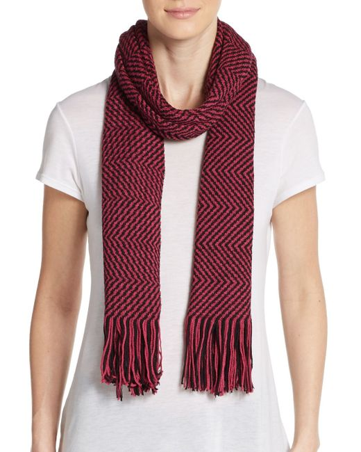 Missoni | Purple Wool-blend Two-tone Zig-zag Scarf | Lyst