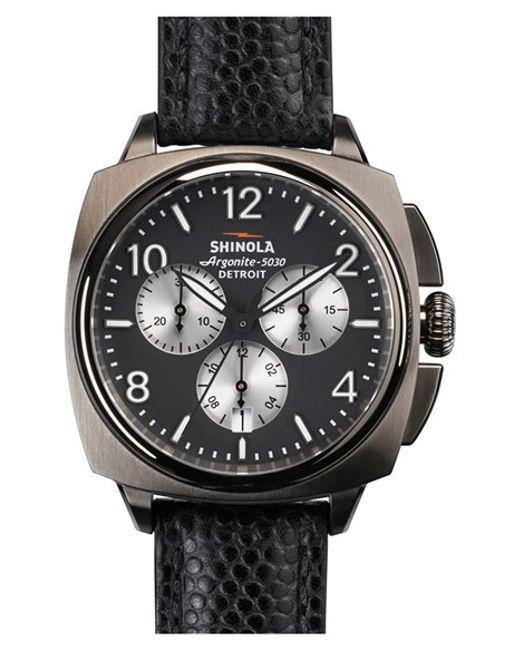 Shinola   Metallic 'the Brakeman' Chronograph Leather Strap Watch for Men   Lyst