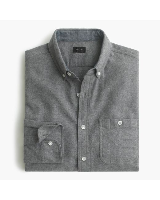 J.Crew | Gray Slim Cotton-wool Elbow-patch Shirt In Solid for Men | Lyst