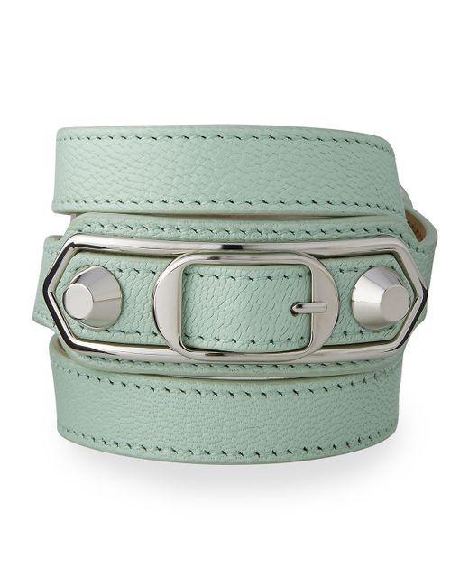 Balenciaga | Green Classic Leather Wrap Bracelet | Lyst