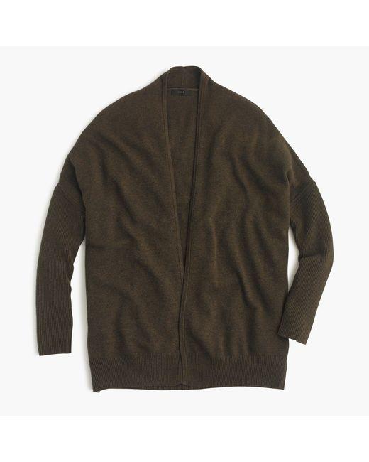 J.Crew | Green Ribbed Open Cardigan Sweater | Lyst