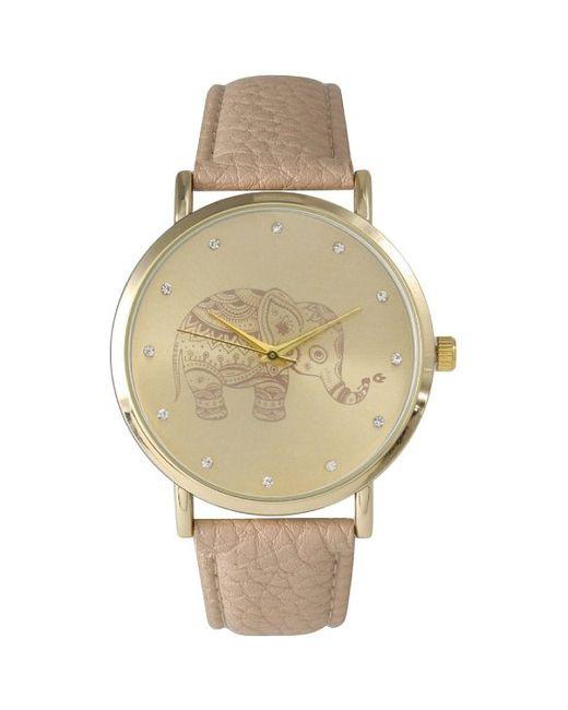 Olivia pratt Women's Leather Rhinestone Elephant Watch in ...