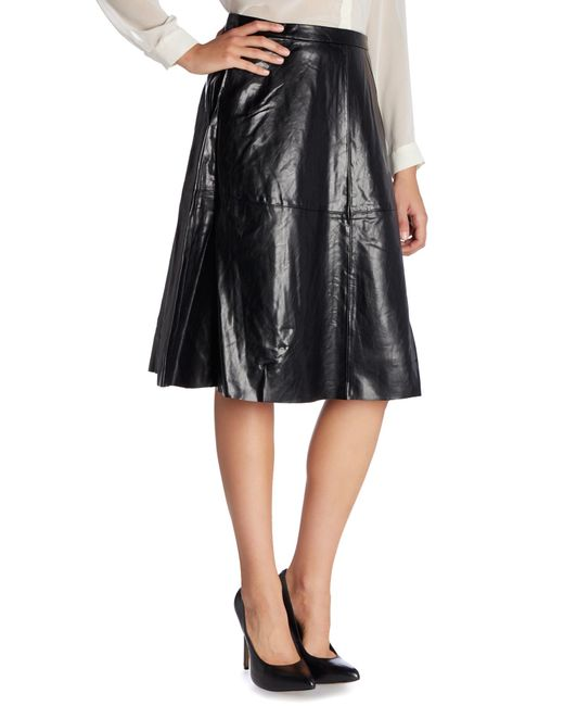 vince camuto midi pleather a line skirt in black save 76