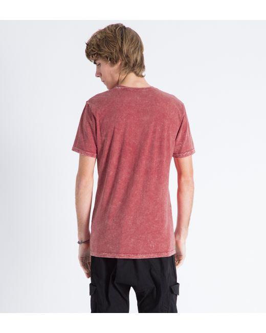 Huf red acid wash pocket t shirt in red for men save 42 for Custom acid wash t shirts