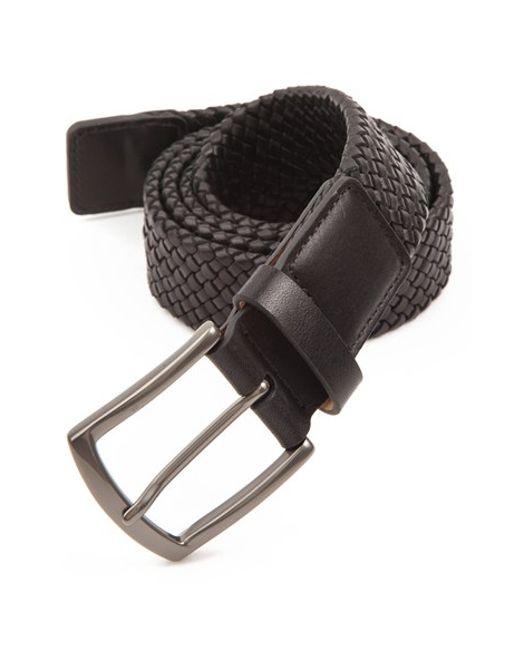 trafalgar ethan braided leather belt in black for lyst