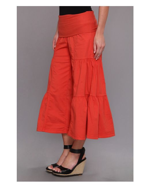 XCVI | Red Cropped Side Tier Palazzo | Lyst