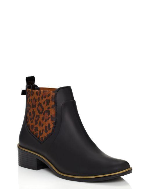 Kate Spade Sedgwick Animal Print Rain Boots In Black -4932