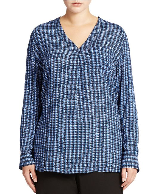 Lord & Taylor | Blue Plus Patterned Blouse | Lyst