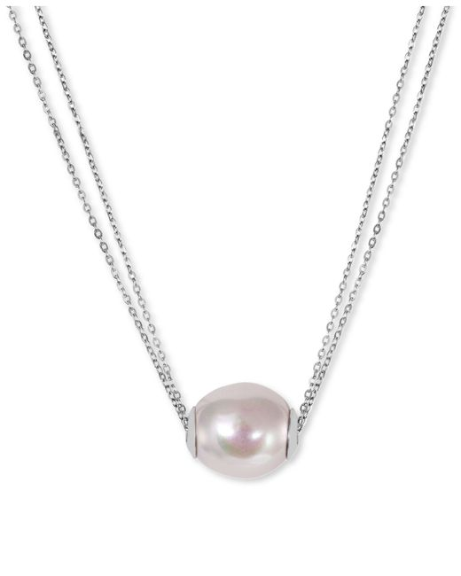 Majorica | Metallic Sterling Silver Organic Man-made White Pearl Pendant Necklace (14mm) | Lyst