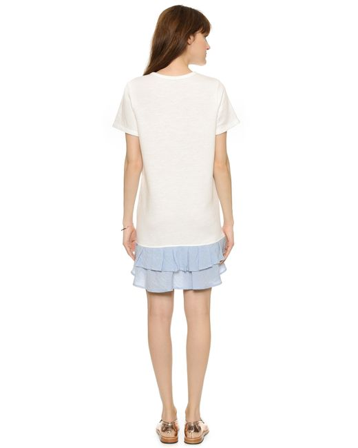 CLU | White Short Sleeve Sweatshirt Dress With Ruffle | Lyst