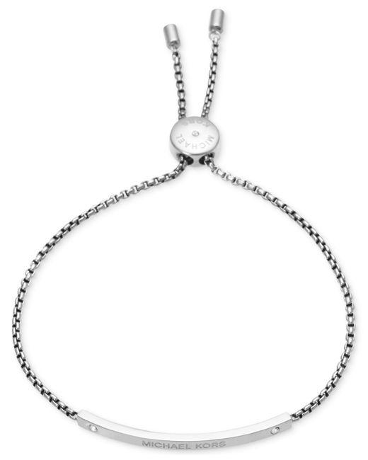Michael Kors | Metallic Bar Logo Slide Bracelet | Lyst