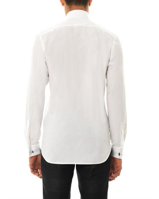 Mathieu jerome cutaway round collar shirt in white for men for Round collar shirt men