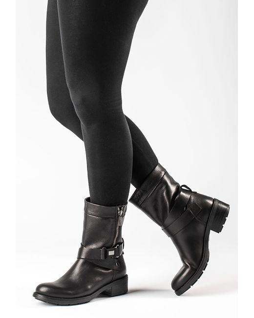 Aquatalia Sami Leather Biker Boots In Black Black Leather