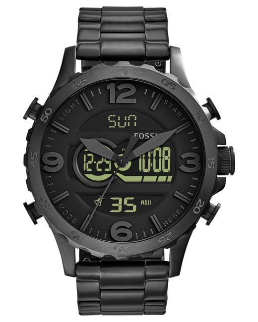 fossil men 39 s analog digital nate black ion plated stainless steel bracelet watch 50mm jr1507 in. Black Bedroom Furniture Sets. Home Design Ideas