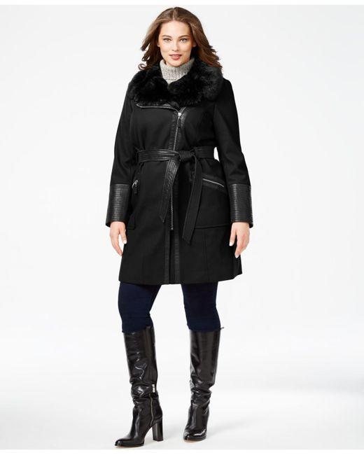Via Spiga | Black Plus Size Faux-fur-collar Asymmetrial Belted Coat | Lyst
