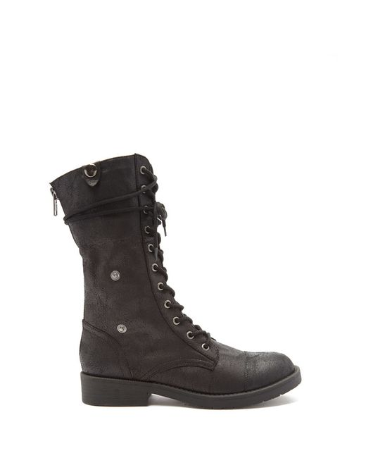Forever 21   Black Faux Fur-lined Combat Boots   Lyst