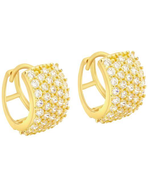Ib&b | Metallic 9ct Yellow Gold 5 Row Cubic Zirconia Huggy Earrings | Lyst