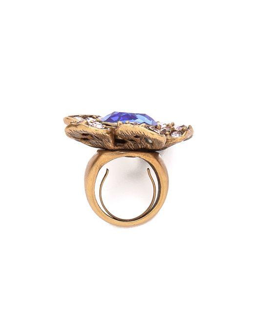 Oscar de la Renta | Metallic Flower Ring Indigoblush | Lyst