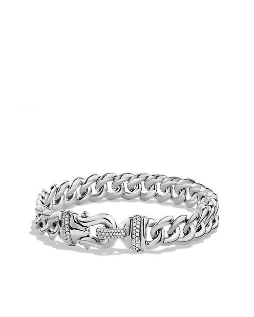 David Yurman   Metallic Buckle Single-row Bracelet With Diamonds   Lyst