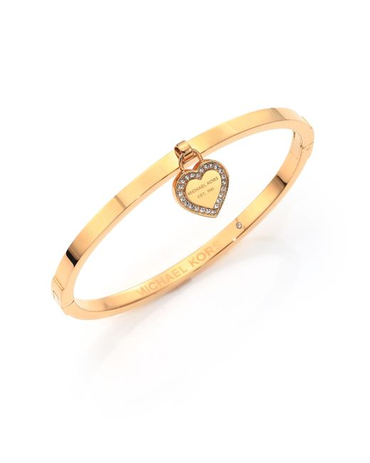 Michael Kors | Metallic Heritage Logo Heart Charm Bangle Bracelet/goldtone | Lyst