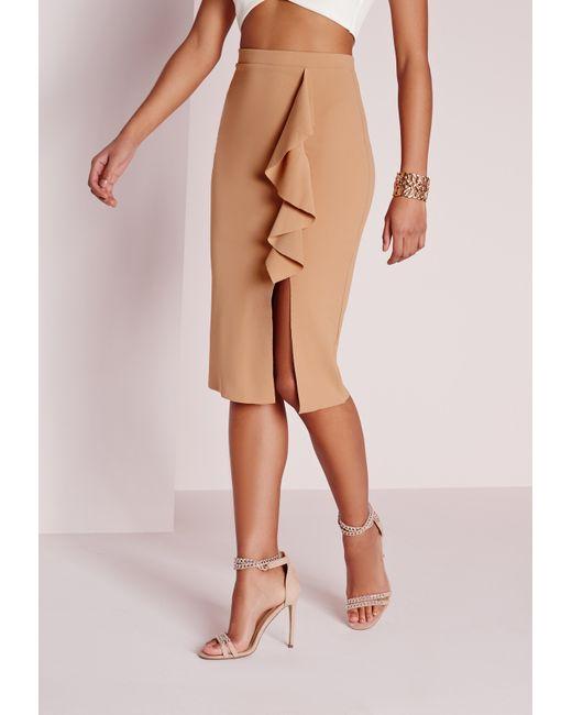 missguided ruffle detail scuba midi skirt camel in beige