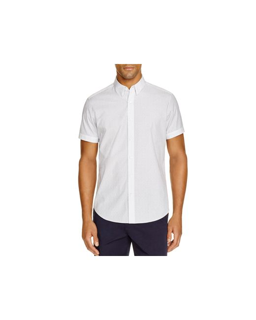 Theory coppolo short sleeve slim fit button down shirt in for White short sleeve button down shirts for men