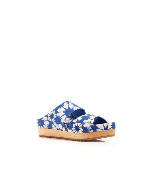 Alice + Olivia | Blue Brianna Open Toe Leather Slides Sandal | Lyst