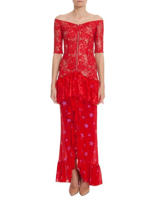 Alessandra Rich | Red Lk30 Lace Gown W/ Star | Lyst