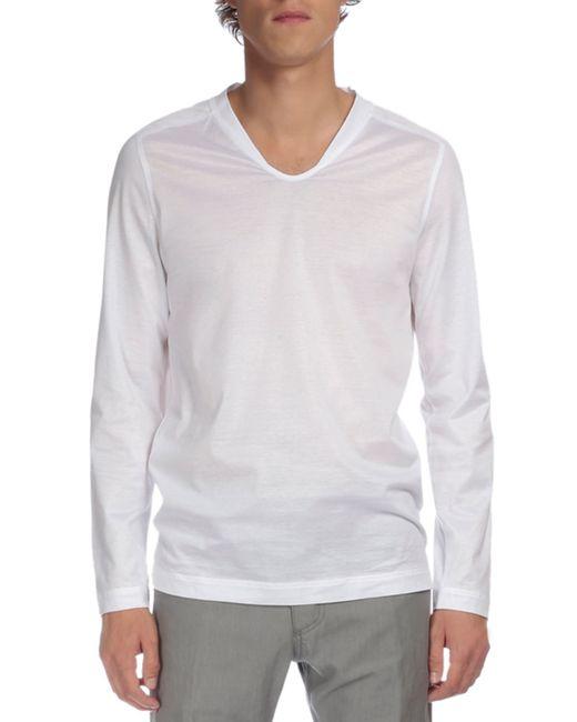 Berluti long sleeve v neck t shirt in white for men save for Long white v neck t shirt