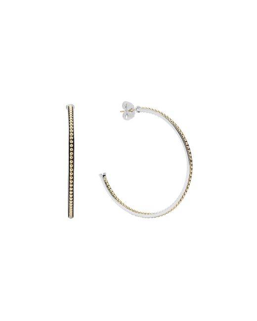 Lagos | Metallic 18k Gold And Sterling Silver Enso Large Caviar Lined Hoop Earrings | Lyst