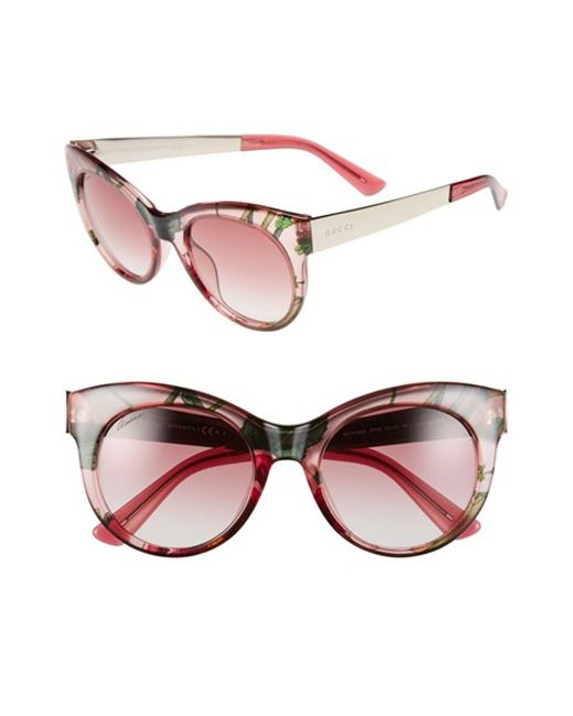 Gucci 'flora' 53mm Retro Sunglasses in Pink (PINK/ FLORAL ...