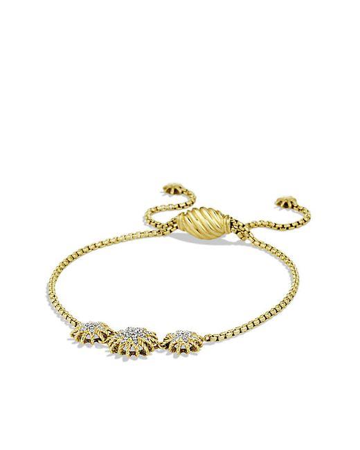 David Yurman | Metallic Starburst Three-station Bracelet With Diamonds In 18k Gold | Lyst